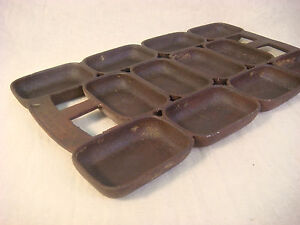 ANTIQUE CAST IRON H MUFFIN PAN MARKED PATENT APRIL 1838? MARKED