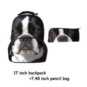 Boston Terrier Women's Men's Rucksack School bag backpack/Boy Girl Pencil bag
