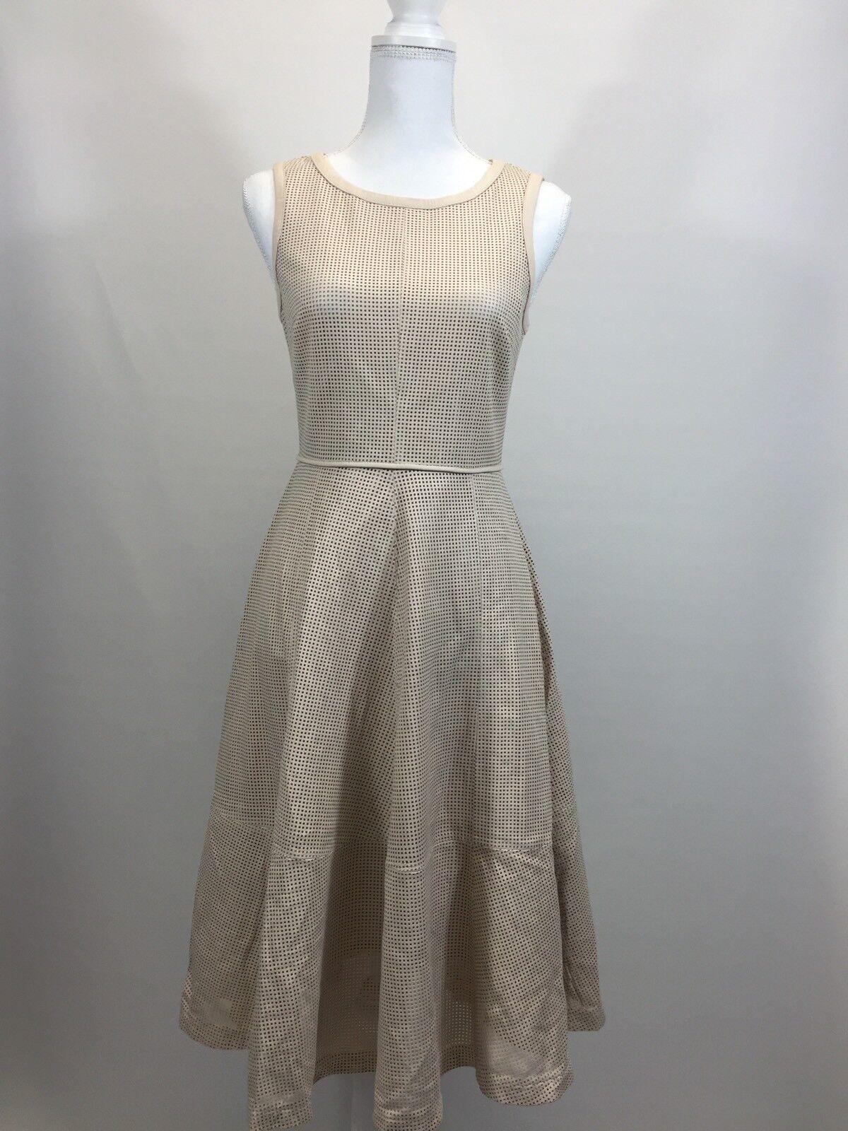 Nuevo Vestido JCREW Colección  Cuero Perforado F0251 Talla 2 BEIGE VAINILLA DULCE  punto de venta