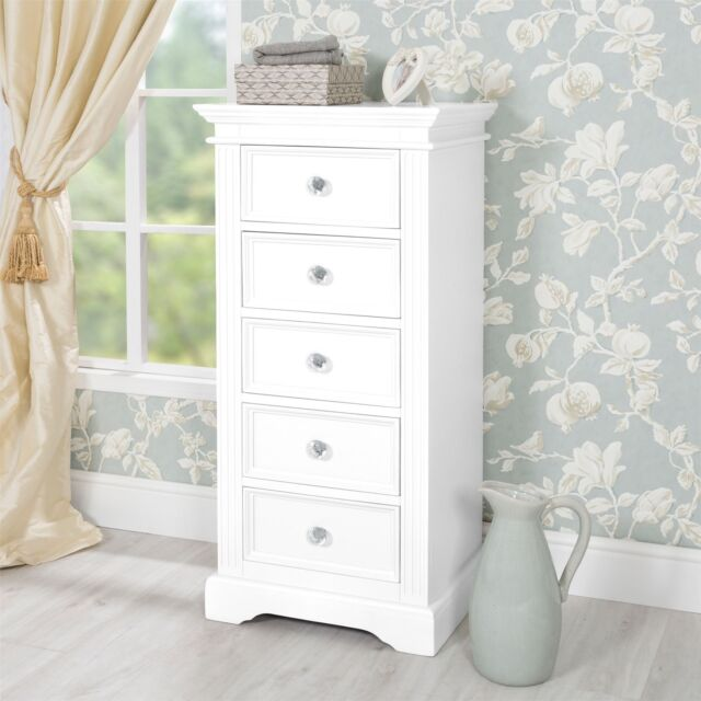 Gainsborough White Tallboy Narrow Chest Of Drawers 5 Drawer With