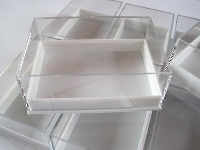10 Stück Kleinstufendosen weiß 80 x 55 x 32 mm für Mineralien Sammlerkästchen