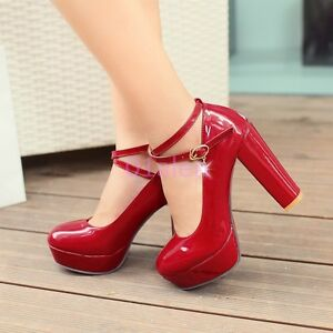 ac050a894a45 HOT Womens Round Toe Platform Block Heels Cross Stap Wedding Shiny ...