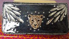Diamante Leopard Head Designer mock croc leather matinee purse wallet NEW SALE!!