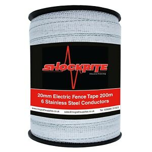 Electric Fence Fencing ShockRite 200m x 20mm White Tape Horse Pony