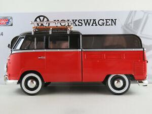 Motormax-79550-VW-t1-doka-camastro-1959-en-rojo-negro-1-24-nuevo-en-el-embalaje-original