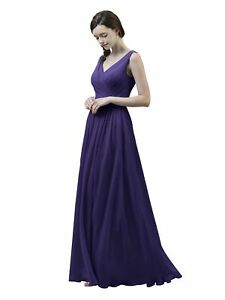 7a19ccc64 Image is loading Alicepub-V-Neck-Chiffon-Bridesmaid-Dress-Long-Party-