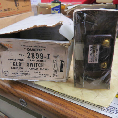 "Tap Action /""Glo/"" Switch box of 10 single pole /""Quiette/"" Arrow Hart 2899-I"