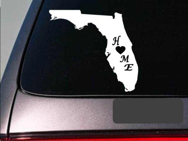 Florida Home Sticker State Shaped Premium Die Cut Decal Vinyl FL love