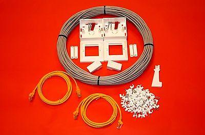 10 M Cat5e Kit Cavo Ethernet Rete Estensione Kit Interno Completo Di Rame-