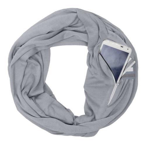 Unisex Lovers Winter Solid Warm Loop Scarf Zippered Secret Pocket Shawl Ring ER1