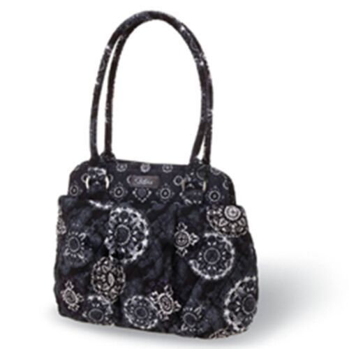 """Orig $60 Wht NEW! Longaberger /""""Maddy/"""" Quilted Handbag // Purse // Tote  Blk"""