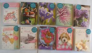 Pack-of-8-blank-mini-note-cards-thank-you-7-designs-Cat-Dog-Guinea-Pig-Flower