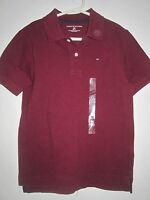 Tommy Hilfiger Boys Burgundy Polo Shirt S Small 6-7