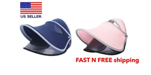 Sun Visor Hat Face Shield UV Cap Outdoor Eye Protection Anti-Saliva Pink// Navy