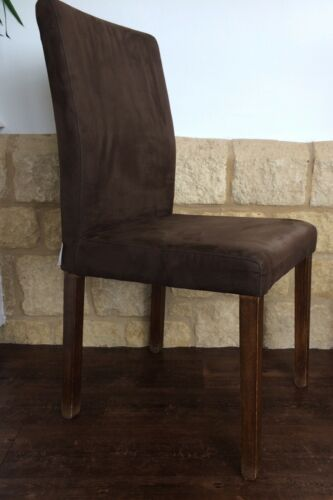 Pair Of Stylish High Back Dining Chairs By Habitat Brown Faux Suede Wood Frame