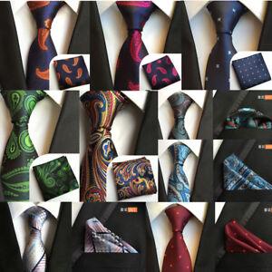 bc0ec9b0ff6c Men's Floral Jacquard Woven Tie Necktie Pocket Square Set Gift   eBay
