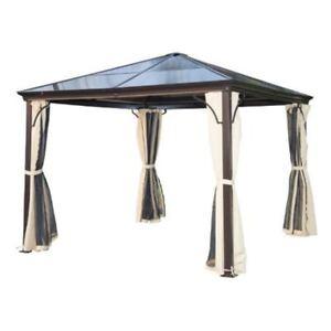 10-x-10-ft-Hardtop-Gazebo-Aluminium-Metal-Pergola-Square-Shed-Kiosk-Paviliion