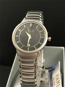 Hamlin-Ladies-Calendar-Date-Watch-with-Black-Dial-and-Gold-Tone-Accents
