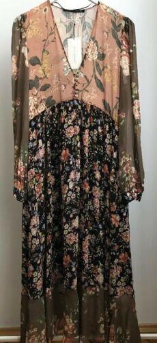 ZARA WOMAN MIDI KLEID VOLANT BLUMEN FLORAL FLOWING LONG DRESS BLOGGER