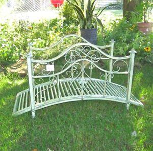"""Garden Bridge 21 """" High - Iron - Rustic Green Finish - Garden Decor"""