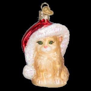 Old-World-Christmas-SANTA-039-S-KITTEN-12366-N-Glass-Ornament-w-OWC-Box