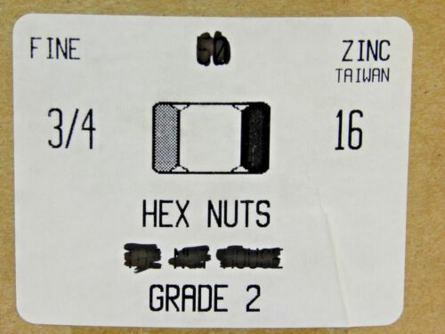 3//4-16 Finished Hex Nuts Grade 2 Steel Zinc Plated FINE THREAD NH 25