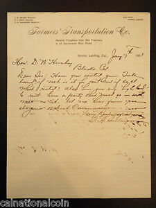 Farmer's Transportation Co. Letterhead Handwritten Letter 1901