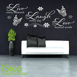 Dettagli su LIVE Laugh Love Wall Sticker-Camera da letto salotto Wall Art  Decalcomania x365- mostra il titolo originale