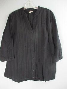 St-John-039-s-Bay-Women-039-s-Size-Large-100-Cotton-Striped-Black-3-4-Sleeve-Blouse