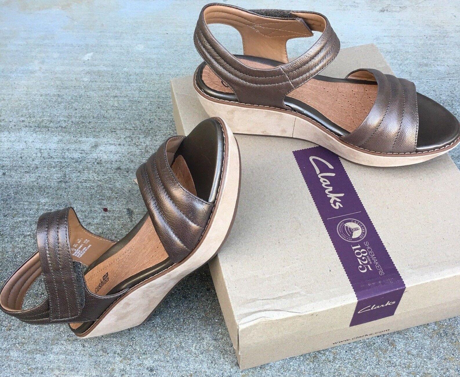 Clarks Hazelle Alba Damens Pewter Leathr Wedge Ankle Strap Platform Sandale Sz 9.5
