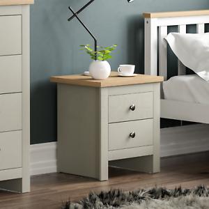 Arlington 2 Drawer Bedside Chest of Drawers Table Cabinet Bedroom Storage Grey