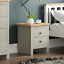 thumbnail 1 - Arlington 2 Drawer Bedside Chest of Drawers Table Cabinet Bedroom Storage Grey