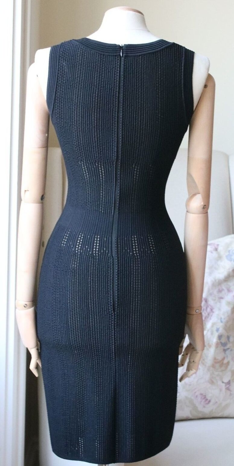 AZZEDINE ALAIA schwarz PERFORATED STRETCH KNIT DRESS DRESS DRESS UK 8 10 0f3c08