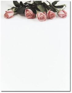 Pink Rose Roses Wedding Letterhead Paper 100 Pk Ebay