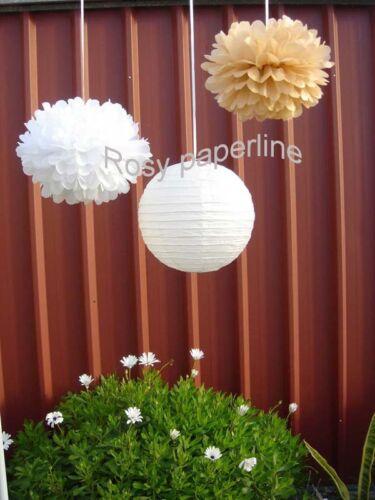 10x white tan paper pom poms paper lantern wedding party baby shower venue decor