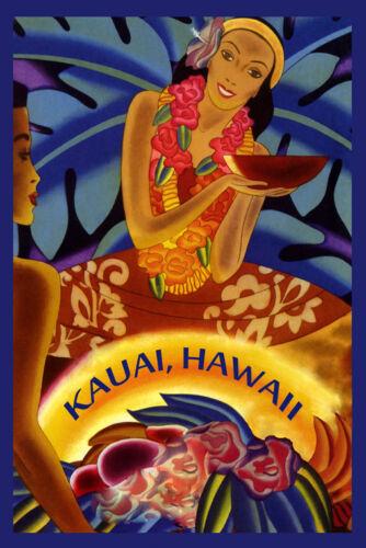 Visit Kauai Hawaii Girl American Travel Tourism Vintage Poster Repro FREE S//H