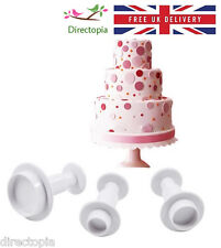 3 Piece Set Round Fondant Cake Cookies Icing Decorating Tool Plunger Cutter