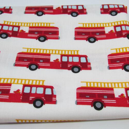 per FQT Fire Pups by Robert Kaufman 100/% cotton fabric fire engines