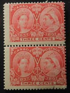 Canada-53-MH-OG-Pair-Queen-Victoria-Jubilee-Issue-1897-Lower-Stamp-Faulty