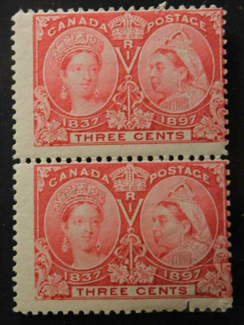 Canada #53, MH OG Pair, Queen Victoria Jubilee Issue 1897, Lower Stamp Faulty
