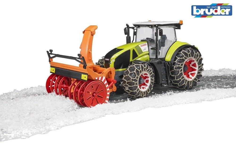 Bruder Claas Axion 950 Traktor mit Schneeketten und Schneefräse 03017 1 16