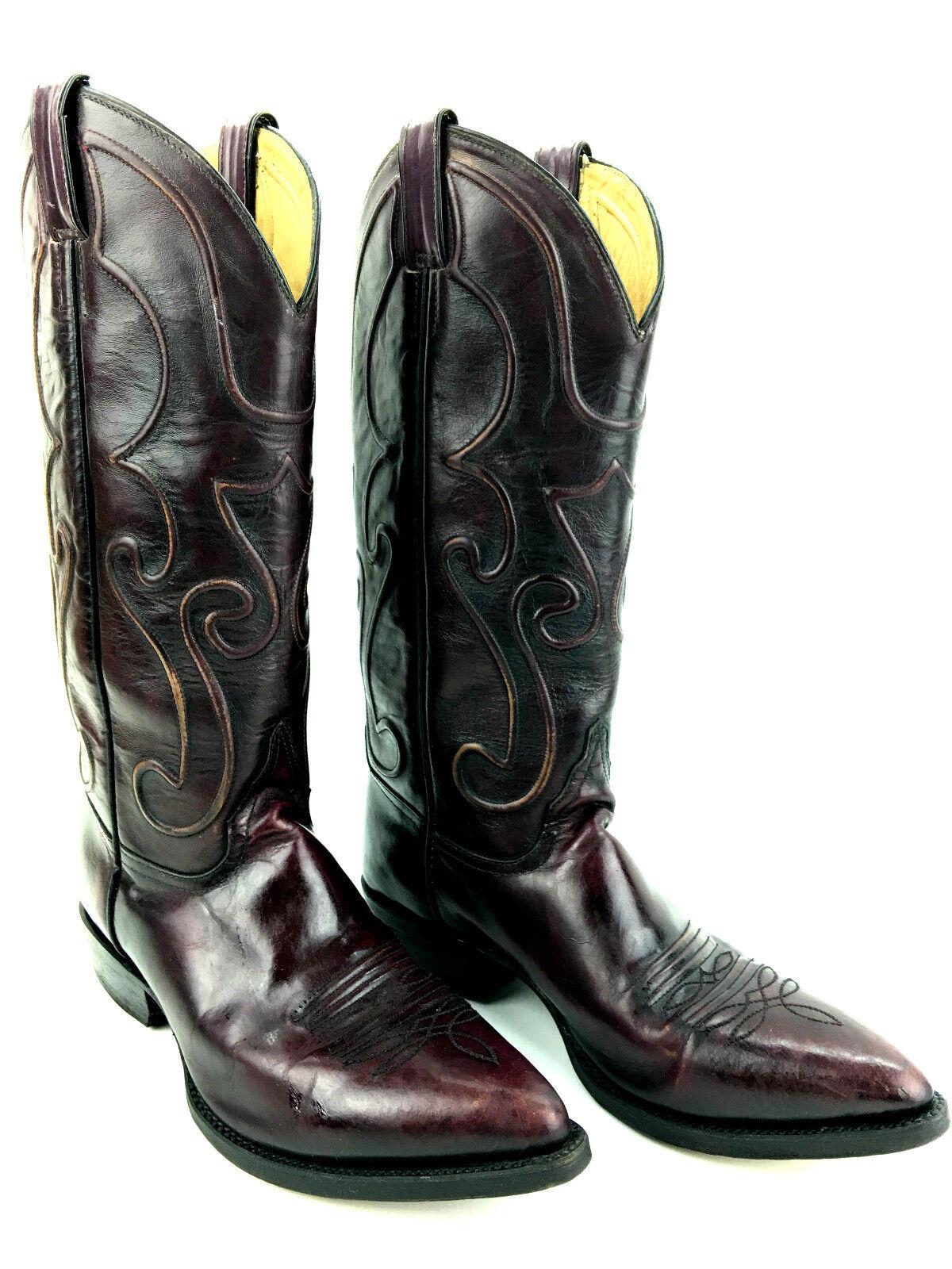 Morgan & Miller Men's Burgundy Western Cowboy Boots Size 7.5 USA.