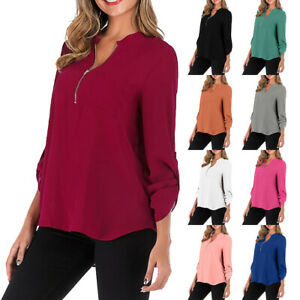 Women-V-Neck-Long-Sleeve-Plain-Loose-Tops-Casual-Plain-Tee-Shirt-Blouse-Pullover