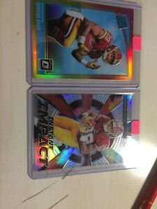 Derrius-Guice-2-CARD-LOT-Red-And-Yellow-Rated-Rookie-prizm-Instant-Impact