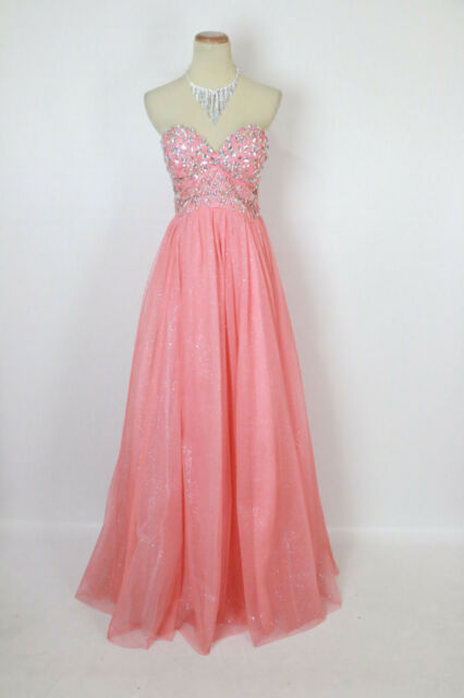New City Triangles 170 Red Coral Strapless Evening Juniors Formal