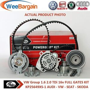 AUDI-VW-SEAT-SKODA-1-6-2-0-TDI-16v-GATES-KP25649XS-1-Timing-Belt-Kit-Water-Pump