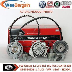 AUDI VW SEAT SKODA 1.6 2.0 TDI 16v GATES KP25649XS-1 Timing Belt Kit Water Pump