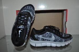 861b03541bf9 Nike Women s Free 5.0 V4 Print 695168 004 Running Shoes Black White ...