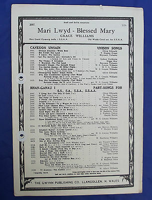 Vintage church sheet music Welsh MARI LWYD Blessed Mary SSAA choir sacred song