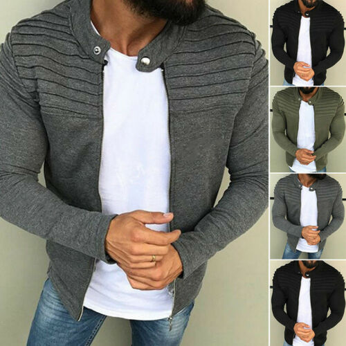 Men/'s Bomber Slim Winter Jumper Jacket Zip Up Coat Cardigans Outwear Tops L nb